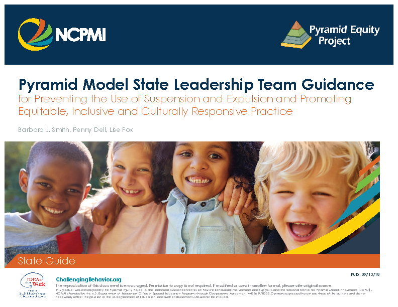 61a3ce9bf7b Pyramid Model State Leadership Team Guidance for Preventing the Use of  Suspension and Expulsion and Promoting Equitable