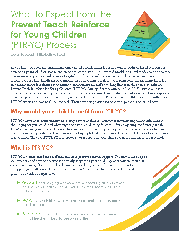 What To Expect From The Prevent Teach Reinforce For Young Children Ptr Yc Process