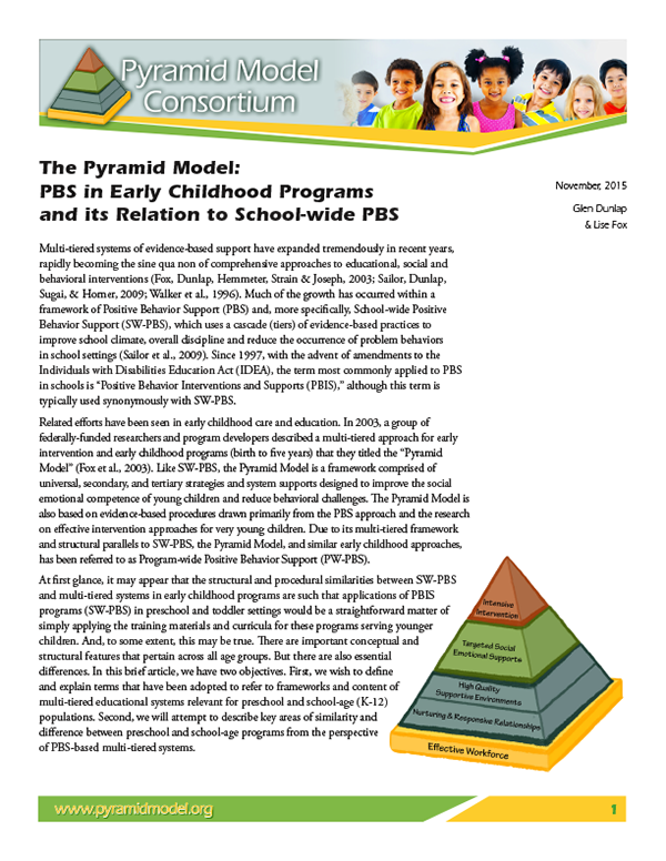 The Pyramid Model: PBS in Early Childhood Programs and its Relation