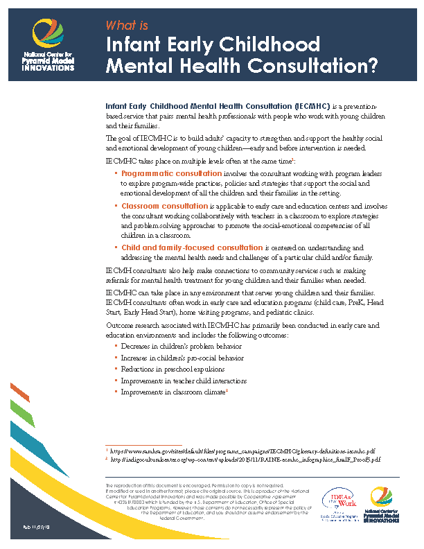 Early Childhood Mental Health Consultation ECMHC